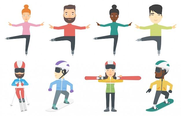 Vector conjunto de personajes de deporte de invierno.