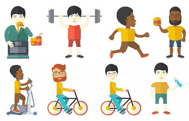 Vector conjunto de personajes deportivos.
