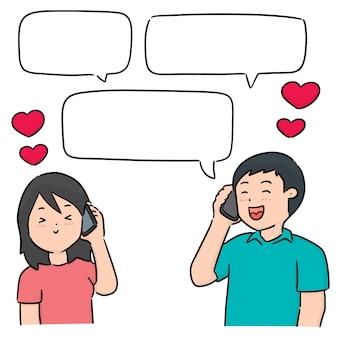 Vector conjunto de personas hablando