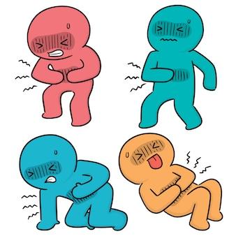 Vector conjunto de personas tiene dolor de estómago