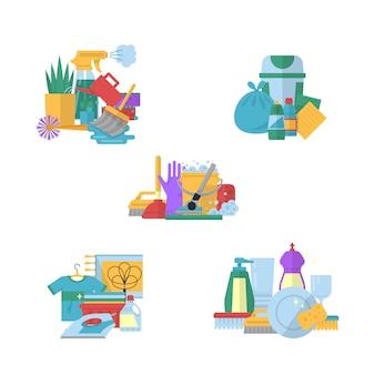 Vector conjunto de pilas de colección plana de limpieza