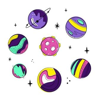 Vector conjunto con planetas y la luna.
