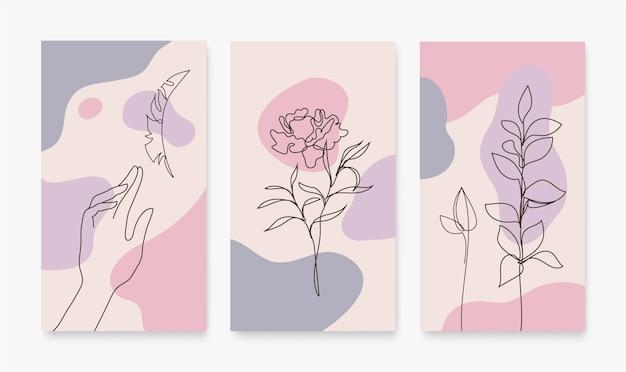 Vector conjunto de portadas para redes sociales, historias, tarjetas, folletos, carteles, aplicaciones móviles, pancartas y otras promociones. línea continua, manos dibujadas a mano, flores, hojas
