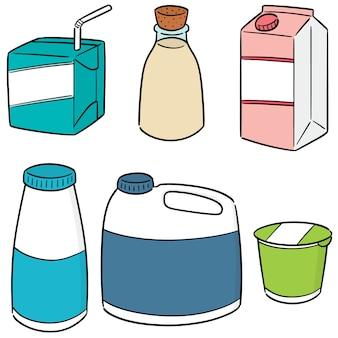 Vector conjunto de productos lácteos