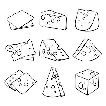 Vector conjunto de queso aislado en un fondo blanco