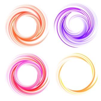 Vector conjunto de remolinos. espiral de color, efecto rizo, brillante y brillante, giro y movimiento.