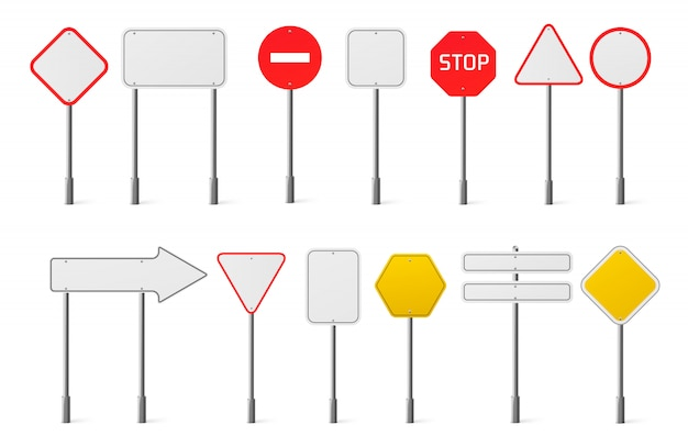 Vector conjunto de señales de tráfico en blanco