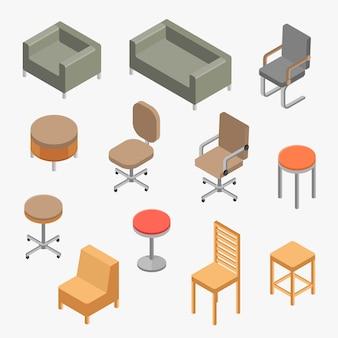 Vector conjunto sillas objeto isométrico