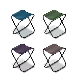 Vector conjunto de sillas plegables de picnic con patas negras y asientos azules, verdes, grises, violetas aislados sobre fondo blanco