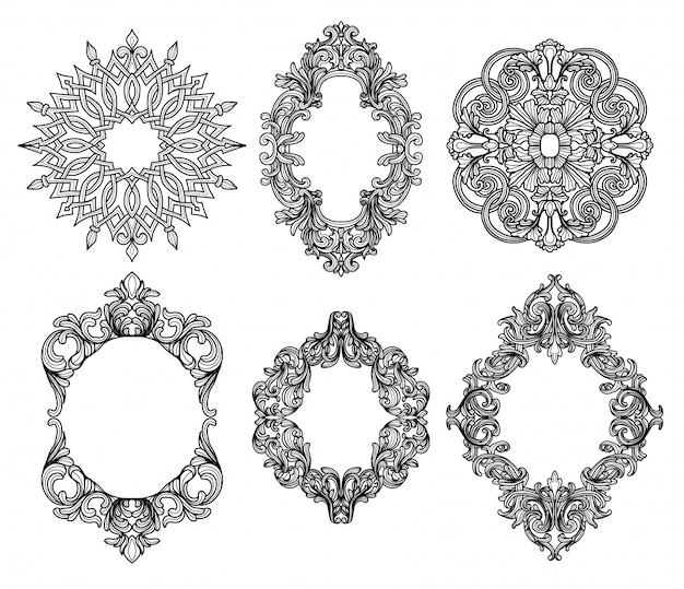 Vector conjunto de siluetas de marco barroco