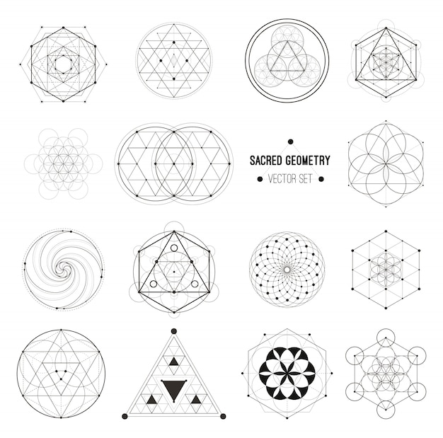 Vector conjunto de símbolos de geometría sagrada