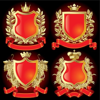 Vector conjunto de símbolos heráldicos de oro