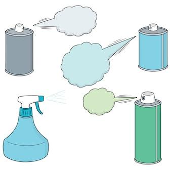 Vector conjunto de spray y botella
