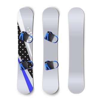 Vector conjunto de tablas de snowboard: en blanco, con patrones y fijaciones vista frontal trasera aislada sobre fondo blanco