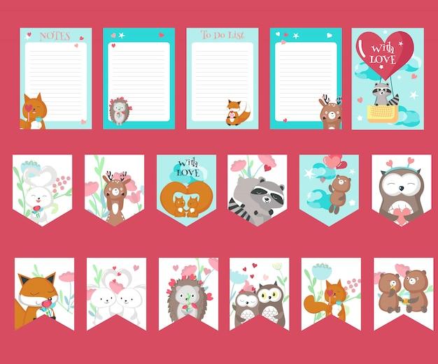 Vector conjunto de tarjetas de amor con animales lindos