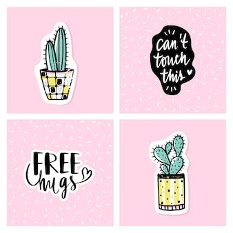 Vector conjunto de tarjetas brillantes con cactus y frases positivas.