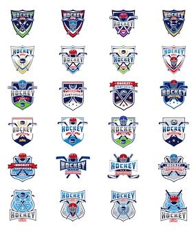 Vector conjunto de tarjetas de color hockey, pegatinas, emblemas