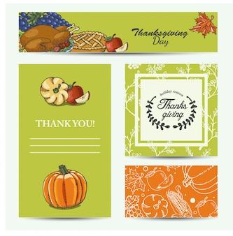 Vector conjunto de tarjetas día de acción de gracias