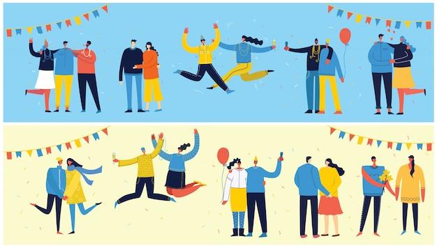 Vector conjunto de tarjetas con feliz grupo de personas celebrando, saltando sobre la fiesta. el concepto de amistad, estilo de vida saludable, éxito, celebración, fiesta.