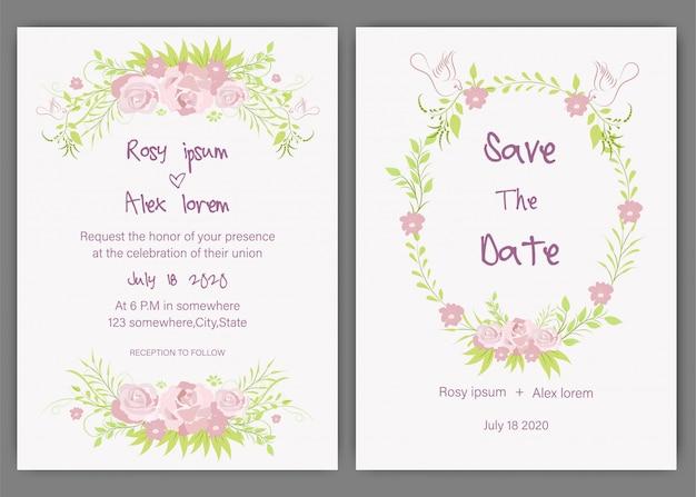 Vector conjunto de tarjetas de invitación de boda con elementos florales