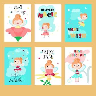Vector conjunto de tarjetas con lindas pequeñas hadas