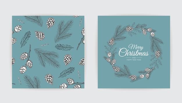 Vector conjunto de tarjetas de navidad