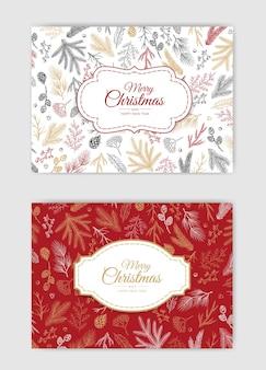 Vector conjunto de tarjetas de navidad.