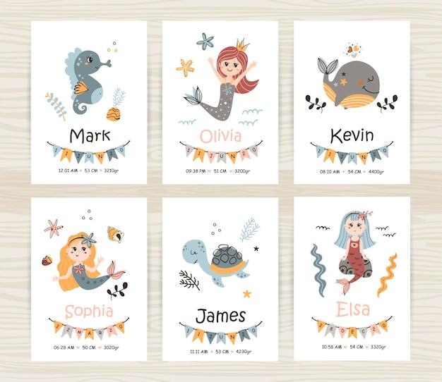 Vector conjunto de tarjetas de recién nacido con sirenas y animales
