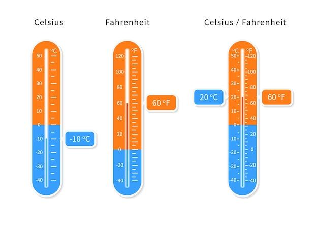 Vector conjunto de termómetros de meteorología celsius y fahrenheit.