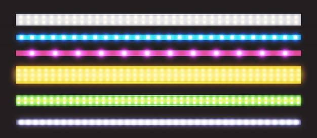 Vector conjunto de tiras led con efecto de brillo de neón