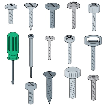 Vector conjunto de tornillo y destornillador