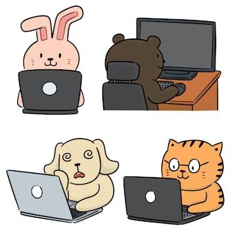 Vector conjunto de trabajador de oficina animal