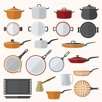 Vector conjunto de utensilios de cocina de diseño de color plano