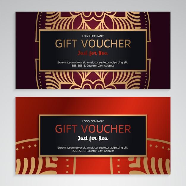 Vector conjunto de vales de regalo de lujo rojo