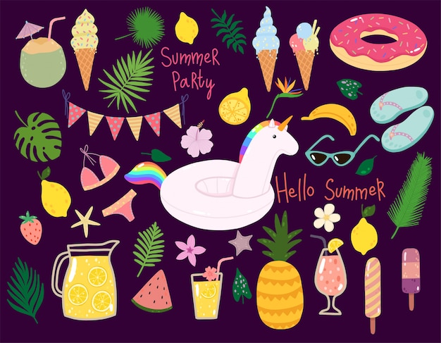 Vector conjunto de verano con flotadores de piscina, cócteles, frutas tropicales, helados, hojas de palma.