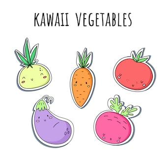 Vector conjunto con verduras kawaii. pegatinas cebollas, zanahorias, remolacha berenjena tomate