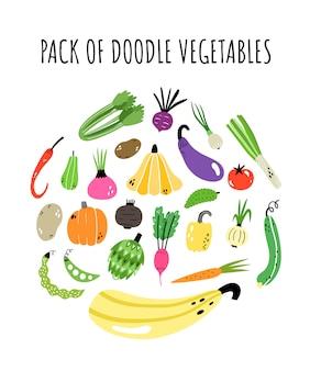 Vector conjunto con verduras
