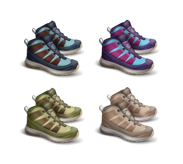 Vector conjunto de vista lateral de zapatillas de viaje de color marrón, verde, azul, violeta, magenta aislado sobre fondo blanco