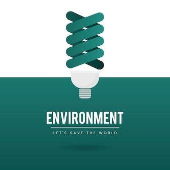 Vector de conservación ambiental de bombilla