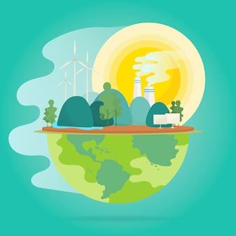 Vector de conservación del medio ambiente efecto calentamiento global