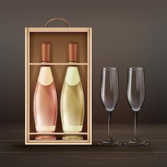 Vector copas de champán y botellas con estuche de madera aislado sobre fondo de darck