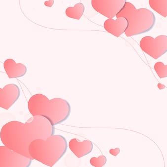 Vector corazón decorado borde fondo rosa