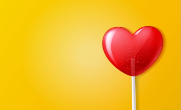 Vector corazón piruleta caramelo 3d día de san valentín dulce