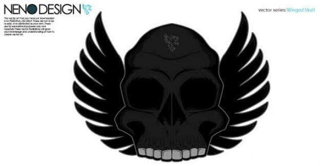 Vector de cráneo con alas