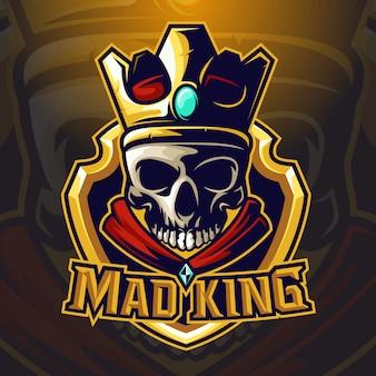 Vector cráneo rey esport logo