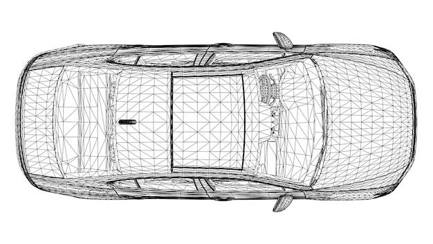 Vector creativo abstracto 3d líneas de coches deportivos conectados a puntos.