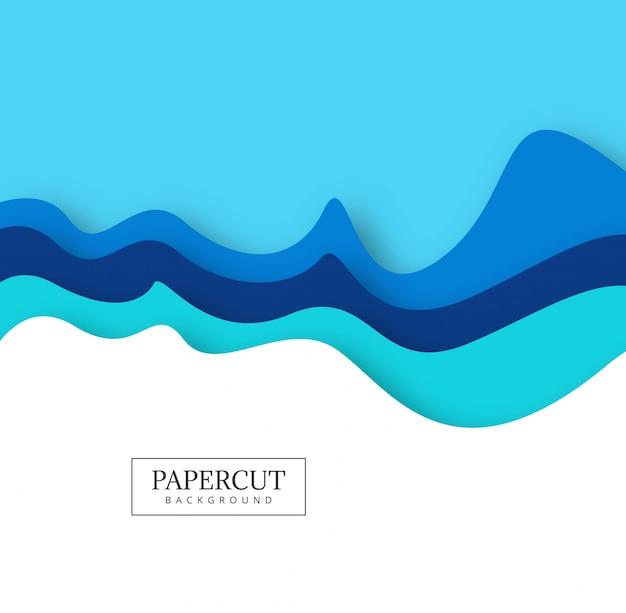 Vector creativo abstracto del diseño de la onda del papercut colorido