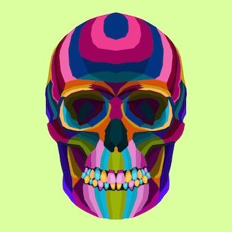 Vector creativo del cráneo del arte pop del estilo del arte colorido
