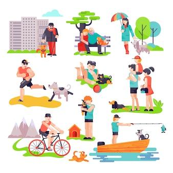 Vector de cría de perros personas con mascota y mujer y hombre personaje de cachorro de perro conjunto de ilustración de familia jugando con perrito
