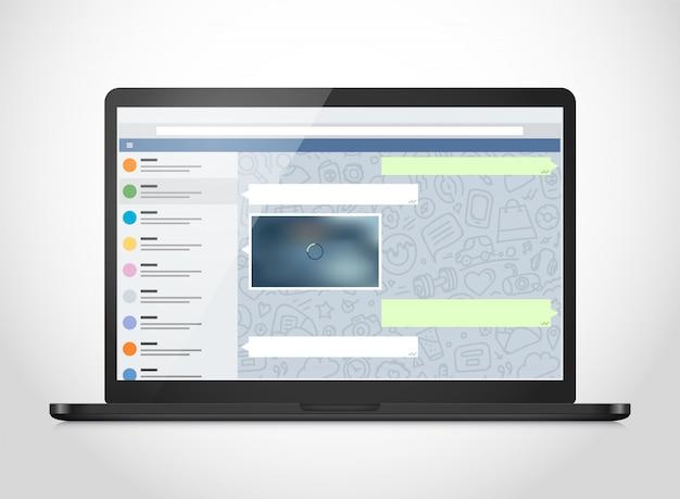 Vector de cuaderno con aplicación de messenger en la pantalla.